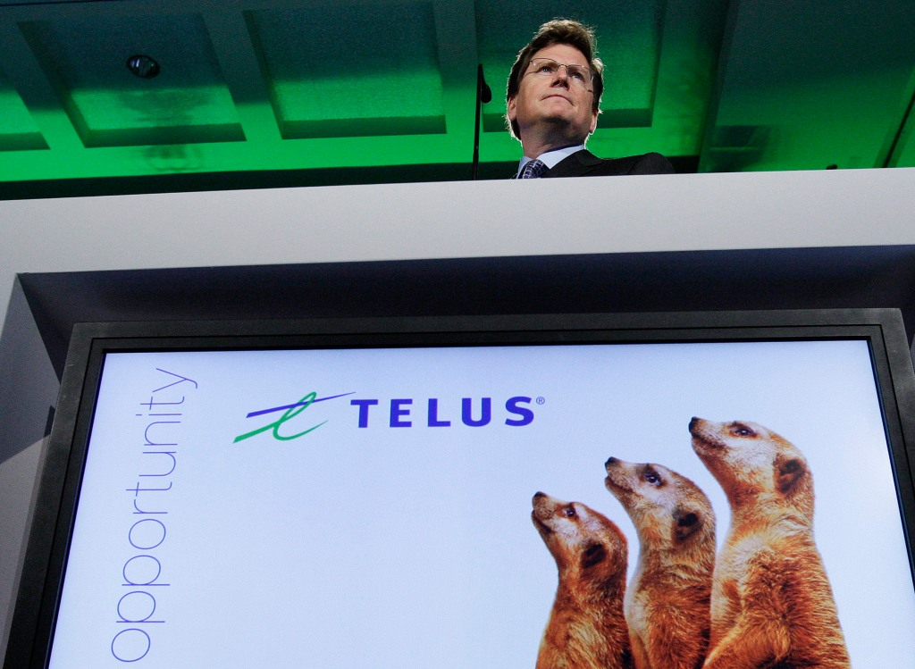 Telus president and CEO Darren Entwistle speaks at AGM in Vancouver